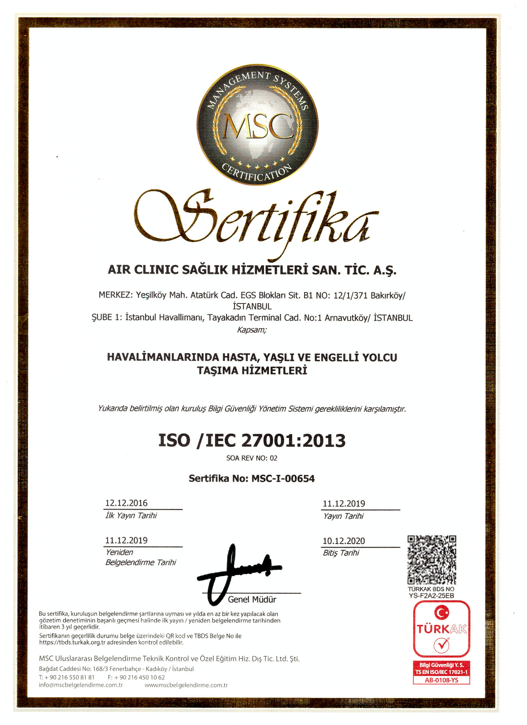 air-clinic-iso-270012013 Certificates