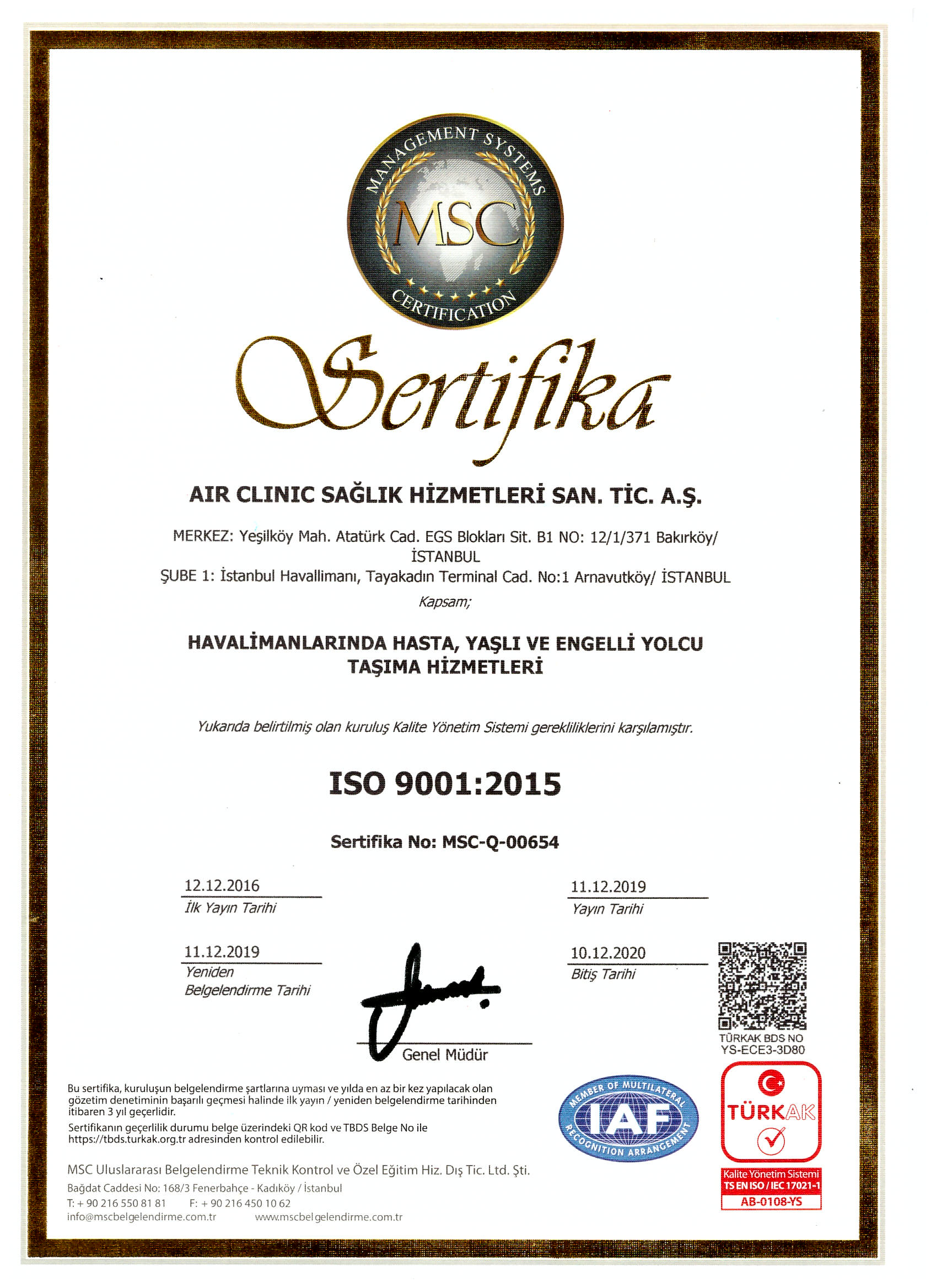 air-clinic-iso-90012015 Certificates