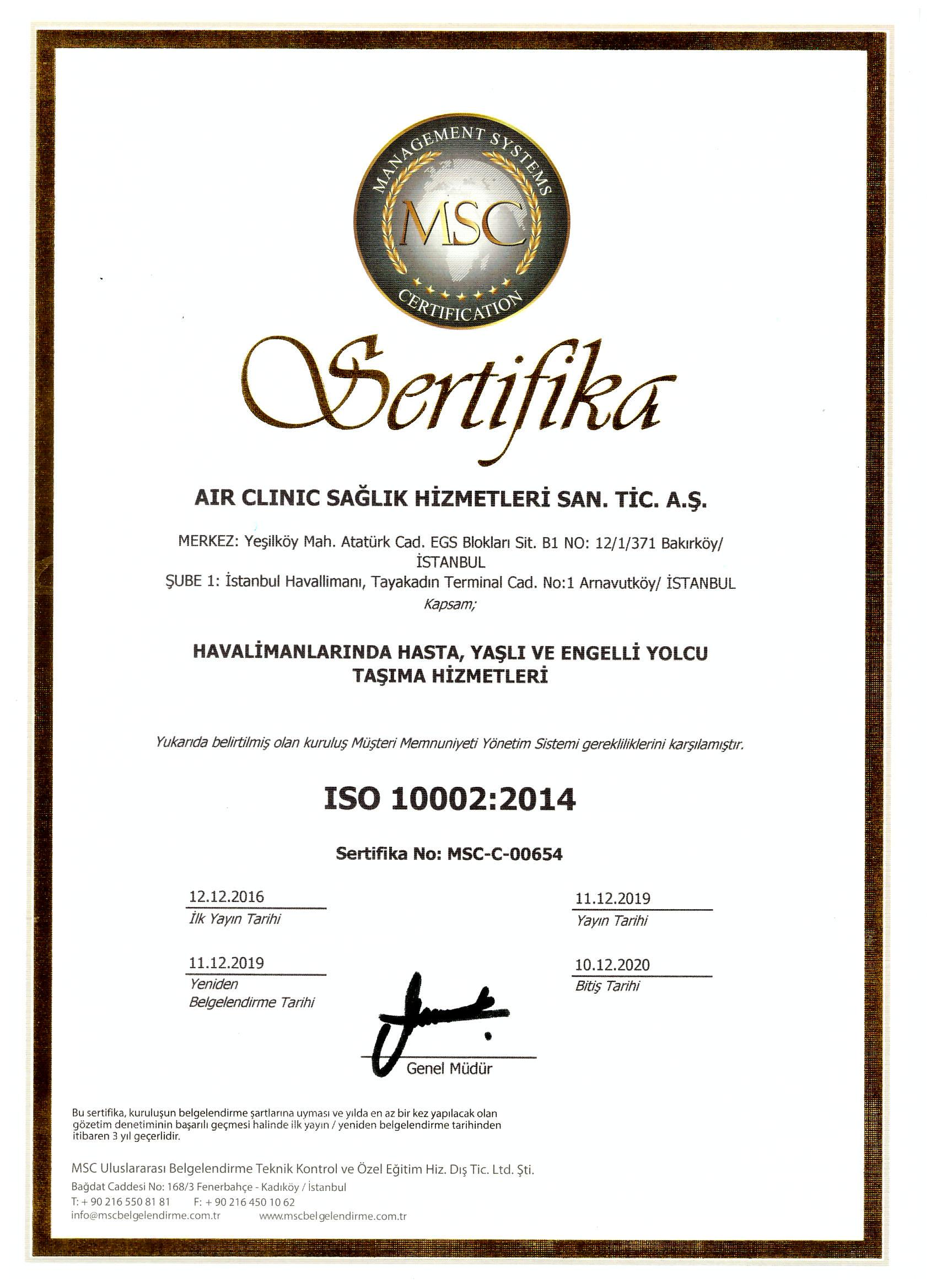 air-clinic-ıso-100022014 Sertifikalar
