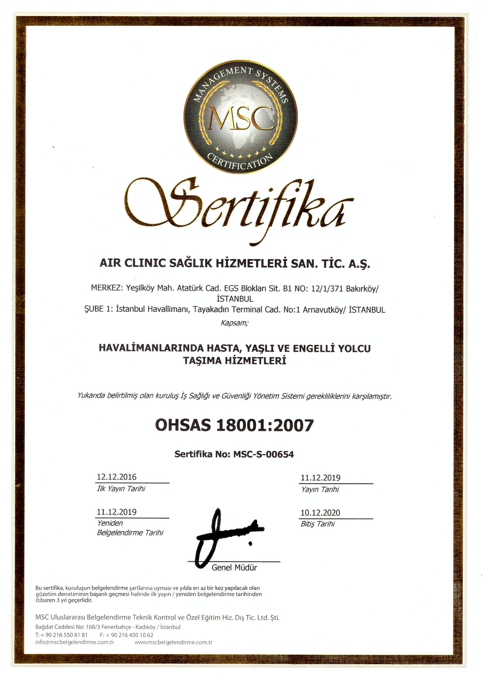 air-clinic-ohsas-180012007 Sertifikalar