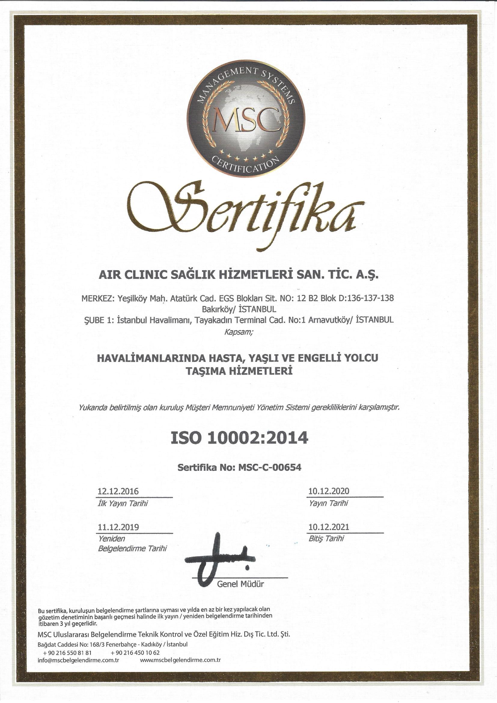 air-clinic-iso-100022014-1-2021 Sertifikalar