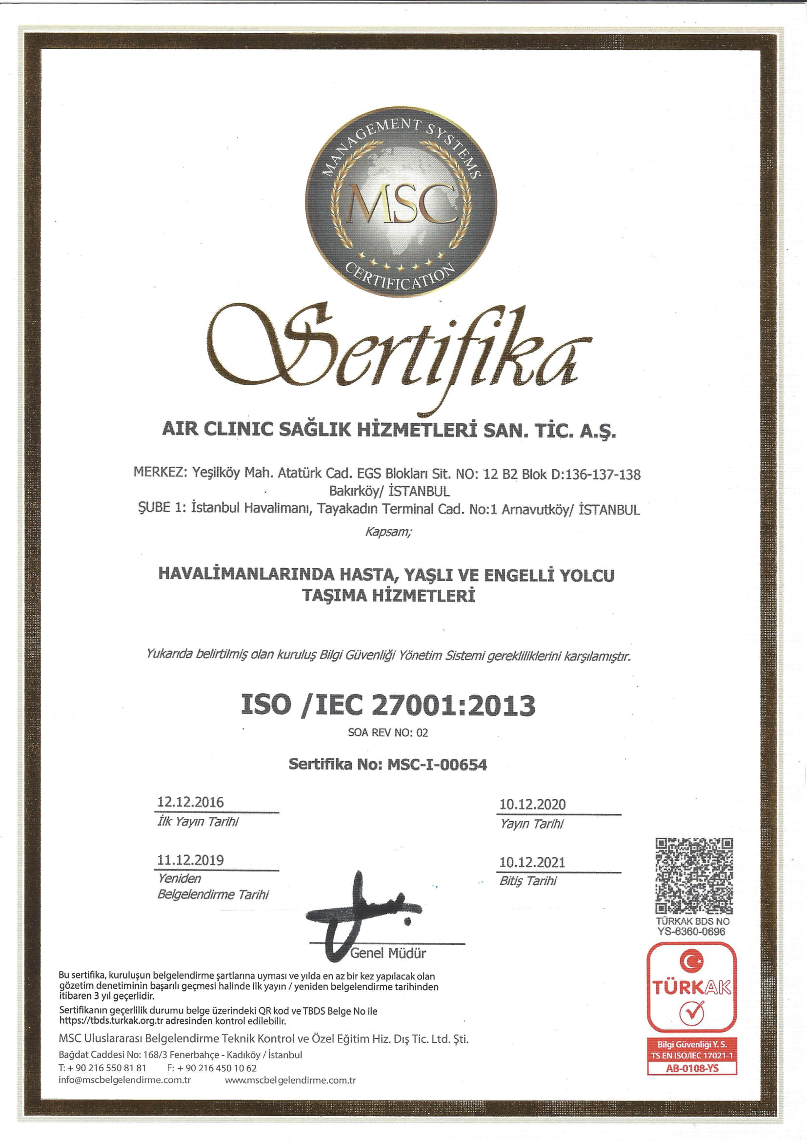 airclinic-iso-270012013-1-2021 Sertifikalar